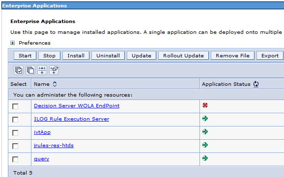 h. The application can be displayed by selecting Applications Application Types WebSphere Enterprise Applications, as shown in Figure 13-19, where the application is listed as Decision Server WOLA