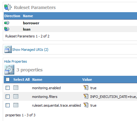 d. Check that the following ruleset properties are set to true, as shown in Figure 14-3: monitoring.enabled ruleset.sequential.trace.