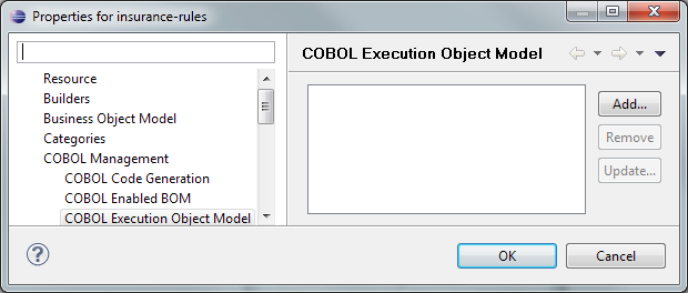 3. In the Import XOM dialog, select COBOL Execution Object Model (Figure 3-4). Click OK. Figure 3-4 Selecting the COBOL Execution Object Model 4.
