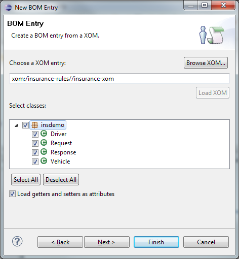 3. On the BOM Entry dialog, in the Choose a XOM entry field, click Browse XOM. On the Browse XOM dialog, select insurance-xom, as shown in Figure 3-17, and click OK.