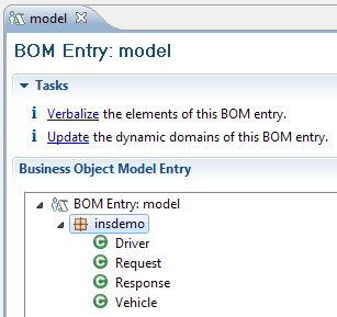 5. In the Rule Explorer view, the bom folder contains a new BOM entry model, as shown in Figure 3-19. Figure 3-19 Viewing the generated BOM 6. View the generated BOM and its verbalization: a.