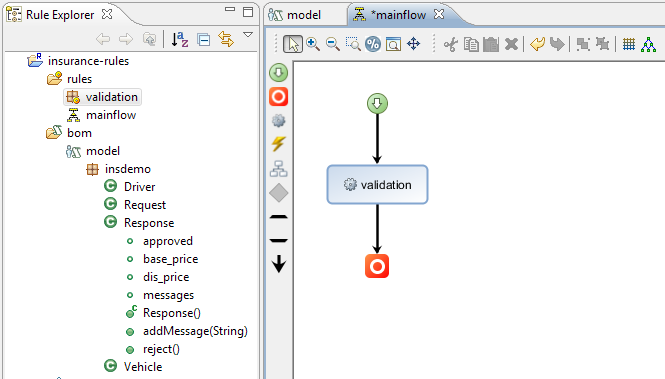 c. Add the task for the validation rule package, which is the rule task of the ruleflow.