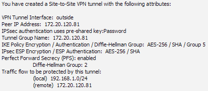 The next steps in the IPsec VPN Wizard is to establish the tunnel phases 1 and 2. The encryption settings established here must match the encryption settings configured later in the FortiGate.
