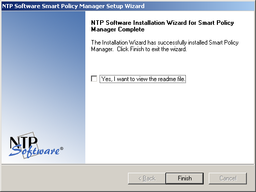 12. If you do not want to view the NTP Software Smart Policy Manager readme file, clear the Yes, I want to view the readme file checkbox.