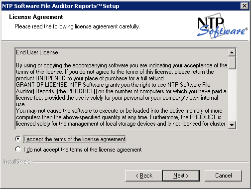 2. In the License Agreement dialog box, read the end-user license agreement.