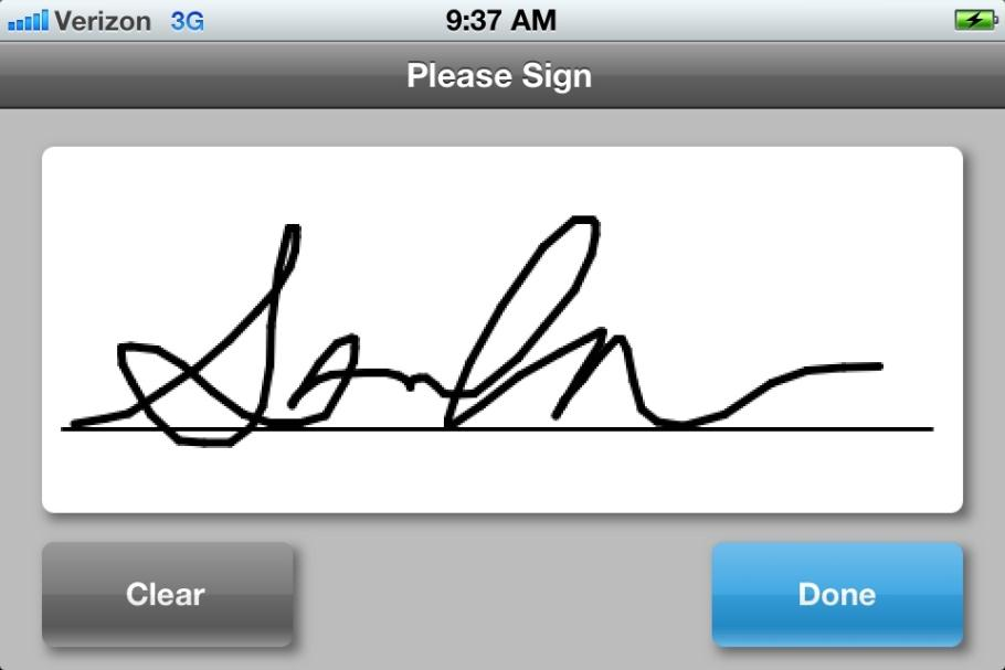 Once the transaction has been approved, a Signature Capture screen will appear, asking the customer to please sign.