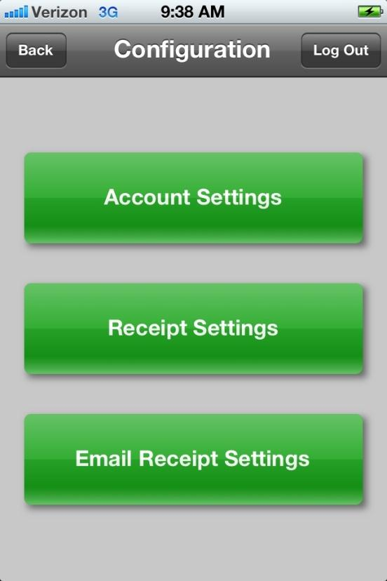 On the Configuration screen, you have the option of setting or editing your Account Settings, Receipt Settings and Email Receipt Settings.