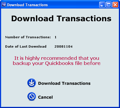 14.3 Subsequent Downloads On subsequent downloads, epnplugin presents the dialog box shown in Figure 111, downloading all transactions processed since the previous download.