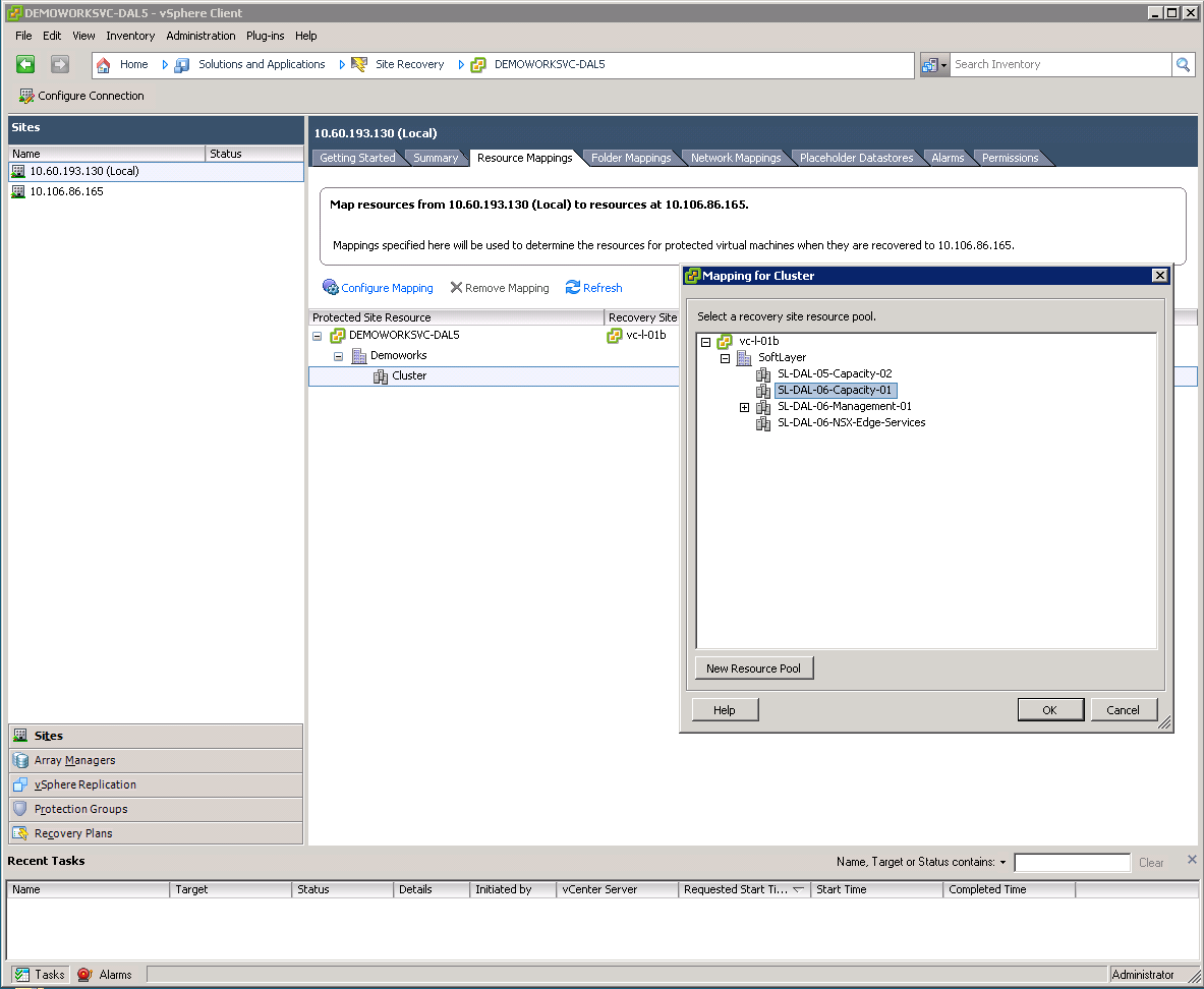 Figure 27. Resource mapping. 3.2.6 Setting up storage replication As mentioned previously, VMware SRM can support storage replication either through vsphere Replication Appliance (VRA) or Storage Replication Adapters (SRAs).