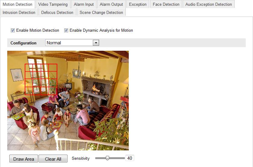For Network Camera (Configuring via Web Browser) 1. Enter the motion detection settings interface. Configuration > Advanced Configuration> Events > Motion Detection 2.