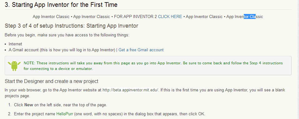 Preparing App Inventor environment 9 Click to