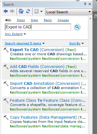 b. In the search window type Export to CAD and click on the tool name in the results. c. In the Export to CAD window add your layers, choose the Output Type and where the Output File should be saved to.