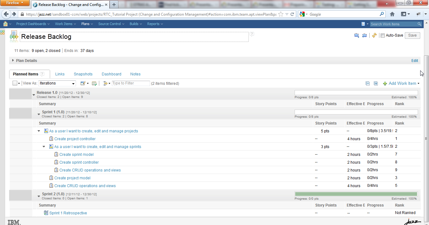 3. Click on Release Backlog. You can see the tasks here divided by the sprints of the Release. 4.