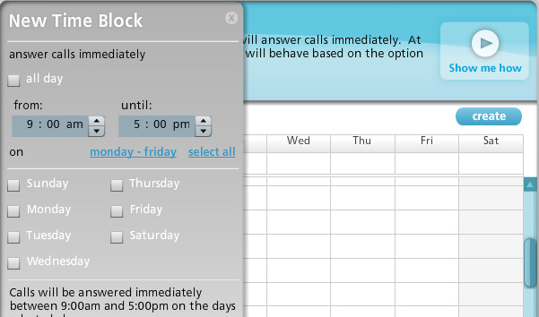 Create time blocks to specify when the Virtual Receptionist will otherwise answer calls immediately. NOTE: This option is not available to digital customers.