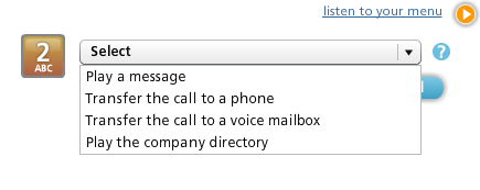 Select PLAY A MESSAGE from the drop-down. WHAT SHOULD CALLERS EXPECT? Click the CLICK TO SETUP button for YOUR MENU WILL SAY. Type how the message should be announced in your menu.