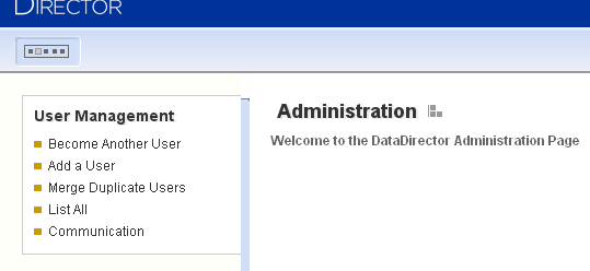 DataDirector 4.0 In DataDirector 4.0 users access communication options by hovering their mouse over the Admin option then clicking Admin Tools.
