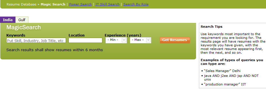 Magic Search Magic Search: No lengthy forms to fill up: the simplest way to search resumes!