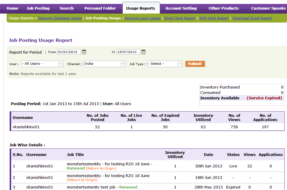 Job Posting Usage Report Job Posting Usage Report Generate reports on the usage of Job Posting feature by choosing the desired date range for the selected user.
