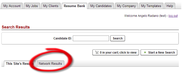 This is the main page where you can begin searching through the resumes that were directly posted to the job board.