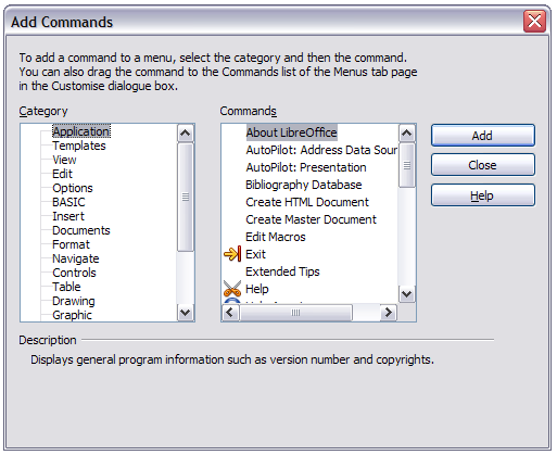 To move submenus (such as File Send), select the main menu (File) in the Menu list and then, in the Menu Content section of the dialog, select the submenu (Send) in the Entries list and use the arrow