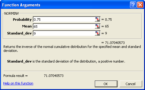 Figure 5 Note: the Excel function NORMINV determines the x-value for the probability that is to the left of the required x-value. In this example we want the top 25% therefore we use 1 0.25, or 0.