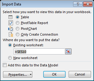 To import multiple tables into the worksheet select Enable selection of multiple tables and select the tables you want to import 6. Select Okay, and your data is imported 7.