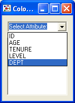 We are going to size the nodes by age, colour them by department and shape them according to level. Close the attribute editor and click on the colour node button.