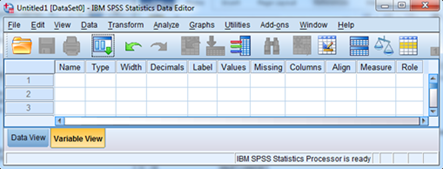 0.2. SPSS DATA ENTRY 5 Figure 0.5: SPSS Data Editor window - Variable View tab. Message! Keep variable names short. We have the option for expanded labels for variables elsewhere in the Variable View.
