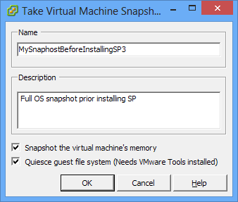 Best Practices Snapshots Copy of the virtual machine's disk file (VMDK) at a given point in time Offline and online Great when installing OS, app patch or a new version Snapshots are NOT backups!