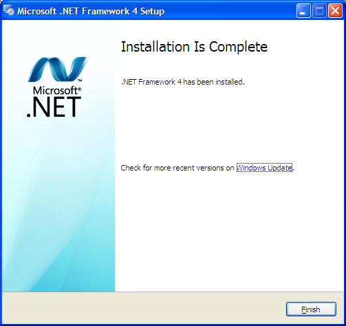 Installing.NET Version 4.0 (continued) 2. Click the Install.Net Version 4.0 option. The files for the installation will be automatically extracted to your system. 3.