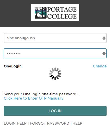 10. The next time you login to the SSO portal from outside of the College network, you will be presented with the following screen in place of your security questions: 11.