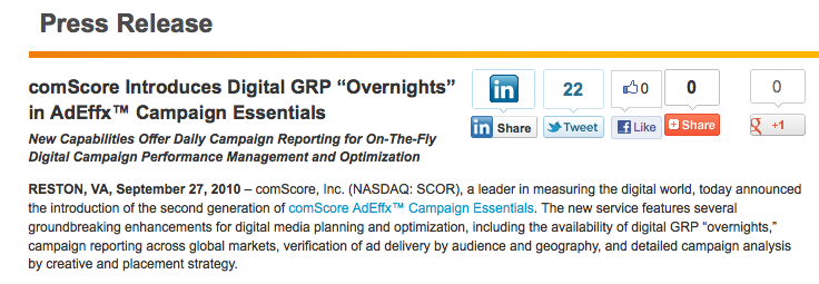 A Commitment to Campaign Measurement comscore was the first to introduce digital
