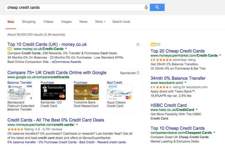 users click here (Organic listings) Example: Cheap credit cards Know how positioning