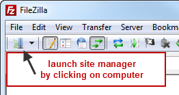 Before closing program, disconnect from Remote FTP Server by selecting Disconnect from the Server menu. Site Manager: Using Site Manager allows the user to store more than one FTP site entry.