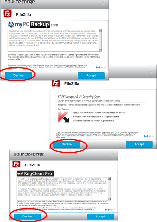 7. The following screens are examples of screens that may come up BEFORE the FileZilla installation begins.