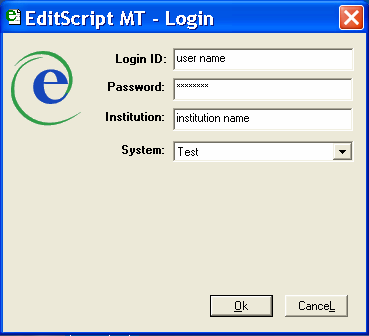 12 Getting Started in EditScript MT Logging in to EditScript MT To begin working in EditScript MT, log in to the application. 1. Double click the EditScript MT_9 icon on your Desktop. 2.