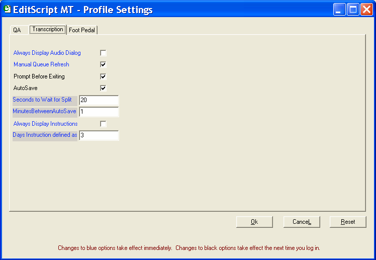 16 Getting Started in EditScript MT Changing Options ALT+O Always Display Audio Dialog ALT+O opens the EditScript MT Profile Settings screen.