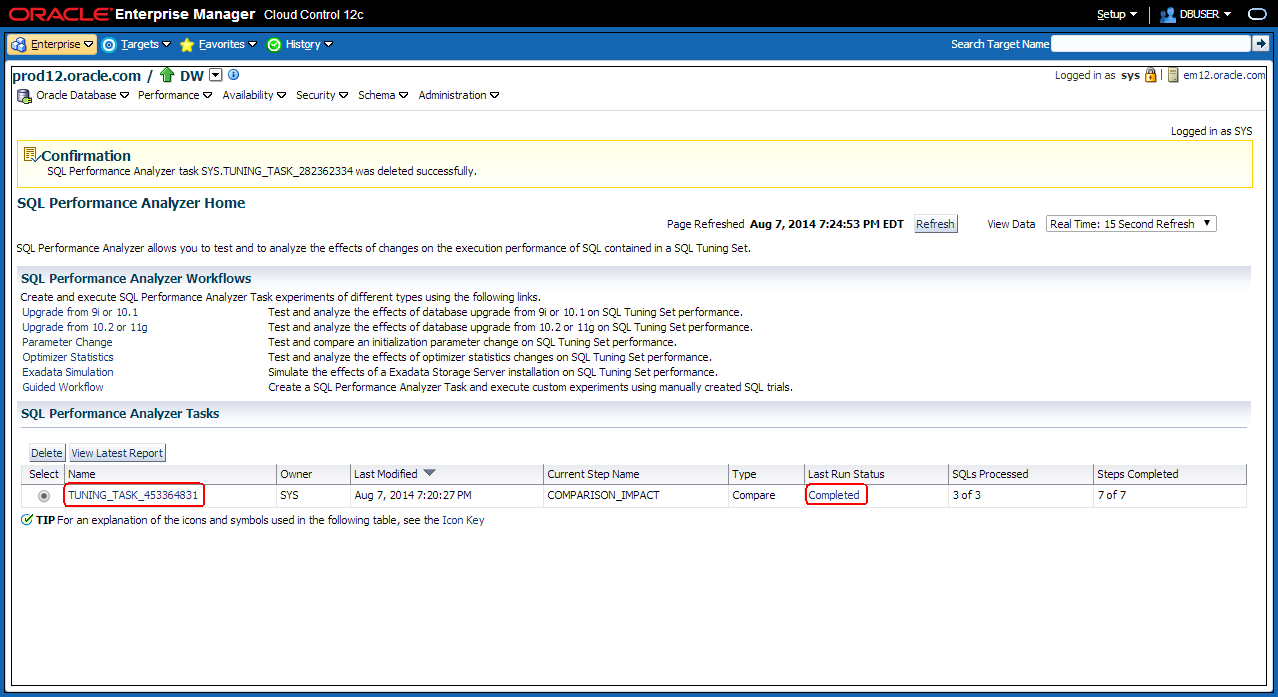 4.2 Enterprise Manager has now created a SQL Performance Analyzer Task for validating the performance.