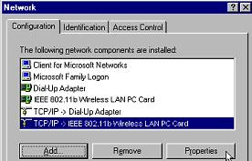 WebSTAR Model DPW700 PCMCIA Wireless LAN Card and WebSTAR Model DPW730 USB Wireless Adapter User s Guide Configure the TCP/IP Protocol If your computer does not have the TCP/IP protocol properly