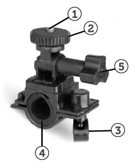 Installing the Bicycle Mount: Handlebar Clamp 1. ¼-20 Screw 2. Locking Wheel 3. Bar Clamp Bolt 4. Bar Clamp 5. Tilt Knob 1. The camcorder does not have a standard tripod mount.