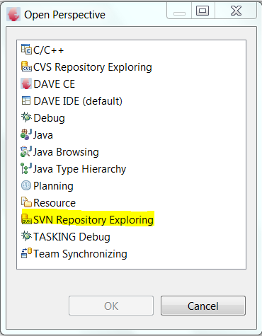 Open the SVN related Perspectives Step1: Select