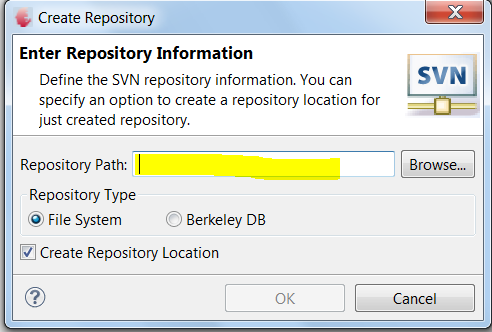 Connect to an Existing repository or Create a new One Step2: Select SVN Repository Location or Create New Repository Existing SVN