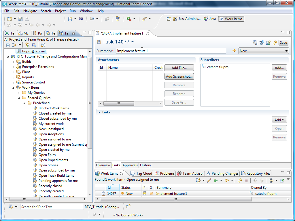 4.4.1 Using predefined queries 1. Within the Team Artifacts view of the Work Items perspective, expand the project area.