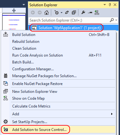 3. Once the project is created, you can add its solution to source control.