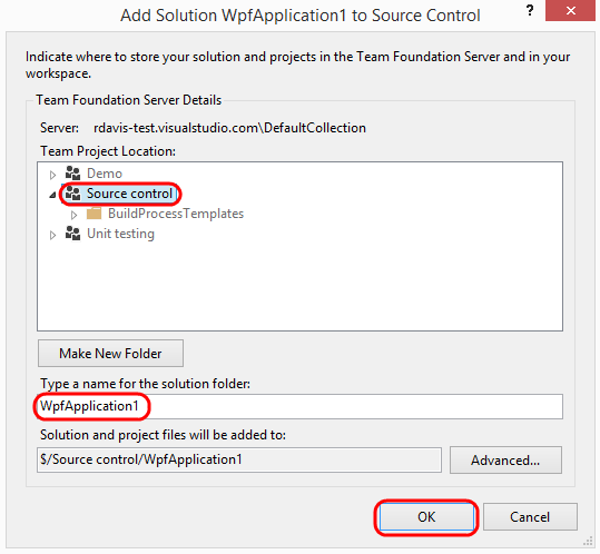 5. In the Add Solution WpfApplication1 to Source Control window, use the default options