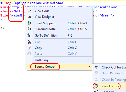 5. After the check in completes, right-click within the MainWindow.xaml file open in the XAML editor and select Source Control View History to bring up the history view. 6.