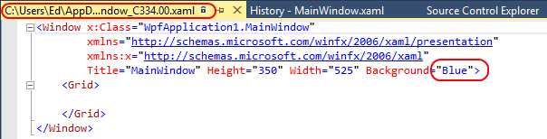 7. Visual Studio will download that specific version of the file, which you can see is saved to a temporary path and is read-only (the lock icon next to the path).