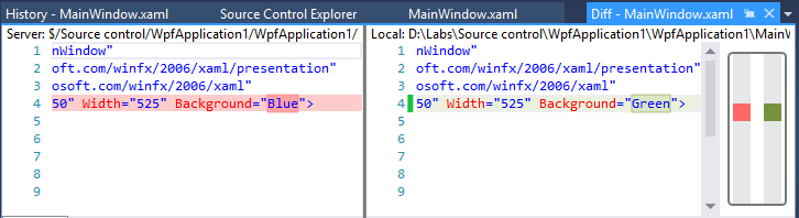 10. Visual Studio downloads the requested version and compares it to the one in your current workspace, opening it in a diff ( differences ) window.