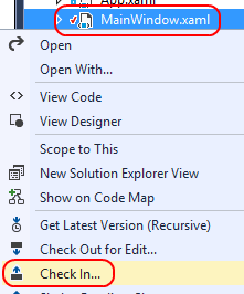 7. In Solution Explorer, right-click MainWindow.