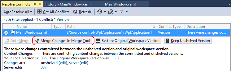 As the shelveset is being unshelved, Visual Studio notices that one of the changes included in the shelveset conflicts with a more recent change to the same part of the codebase.